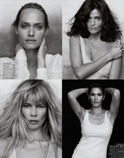 90s Supermodels Without Makeup in 2009 September Bazaar Shot by Peter Lindbergh