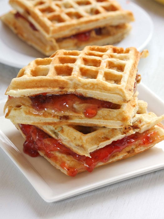 Peanut Butter and Jelly Banana Waffle Sandwiches