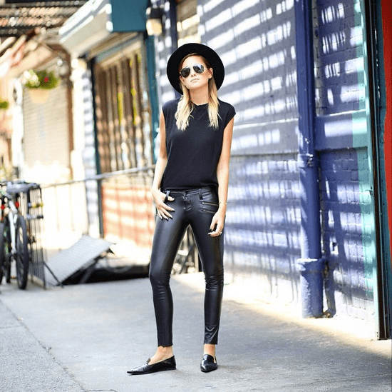 Pointed-toe loafers and leather make for an all-black outfit that's supersleek. So try adding accessories such as aviators and a dark fedora to infuse a totally unexpected sort of cool into your look. Source: Instagram user weworewhat
