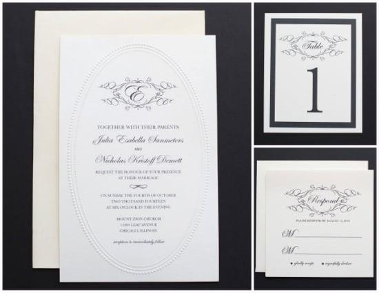 Elegant Black and White Monogram Wedding Invitation