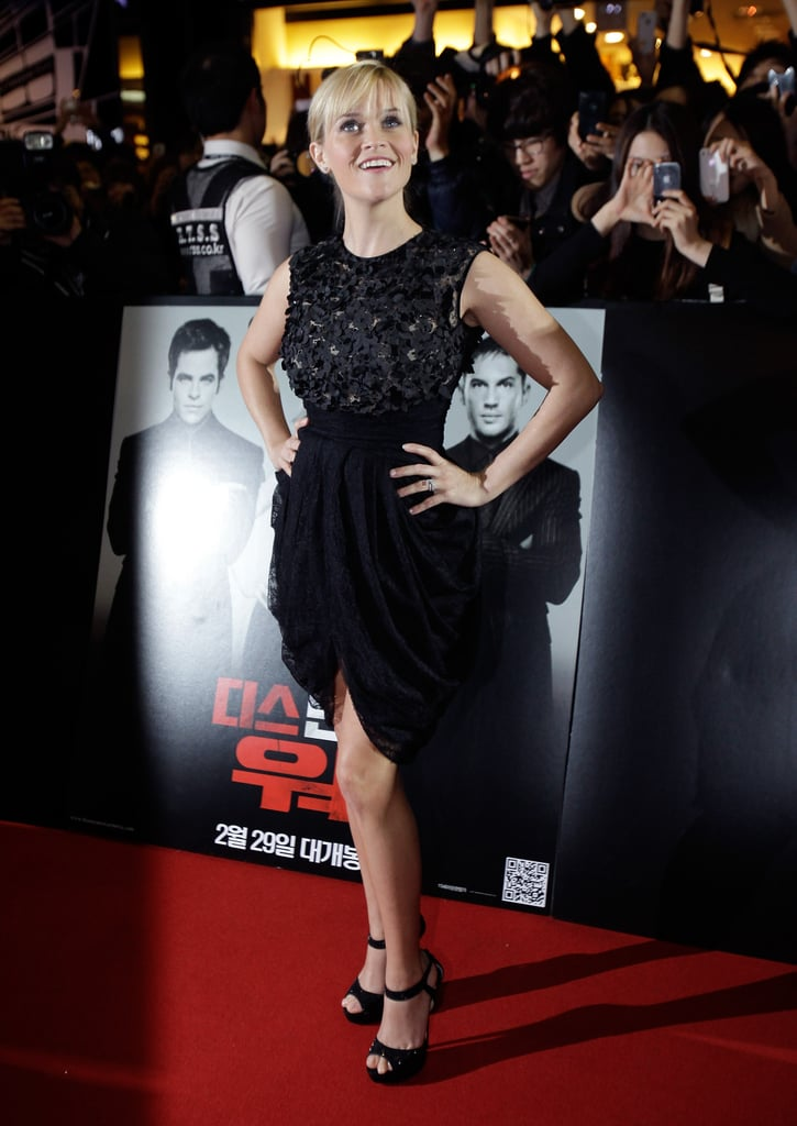 Reese Witherspoon posed on the red carpet at the Seoul premiere for This Means War.
