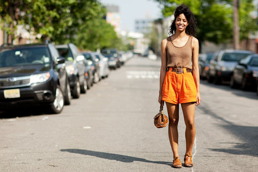Summer is the season for going bold. Bright shorts offer a surprising pop of color in a neutral look.