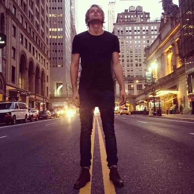 Chord Overstreet stood in the streets of NYC (somehow, with no jacket). Source: Instagram user chordover