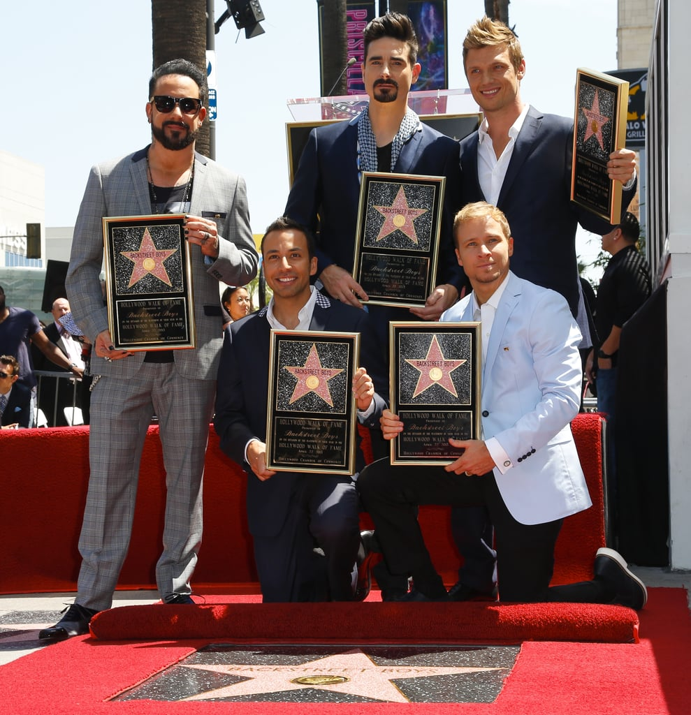 The Backstreet Boys — clockwise from left, AJ McClean, Kevin Richardson, Nick Carter, Brian Littrell and Howie Dorough — were honoured with a star on the Hollywood Walk of Fame on April 22.