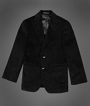 The black cotton corduroy sports coat ($160) by John Varvatos will give your lil guy a dapper look.