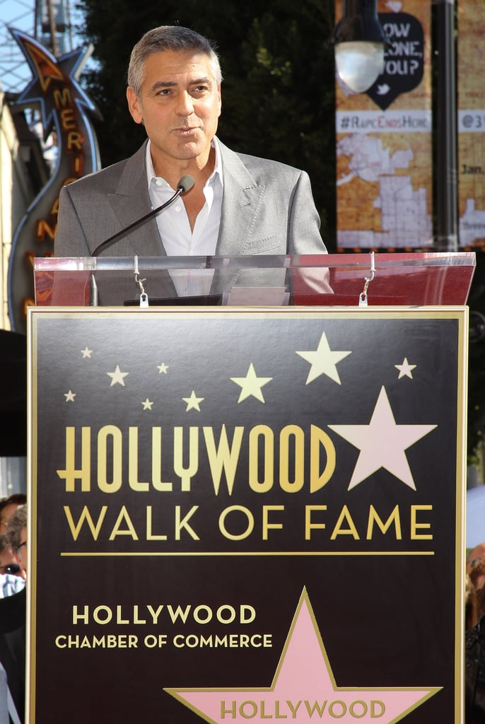 George Clooney at John Wells' Walk of Fame ceremony.