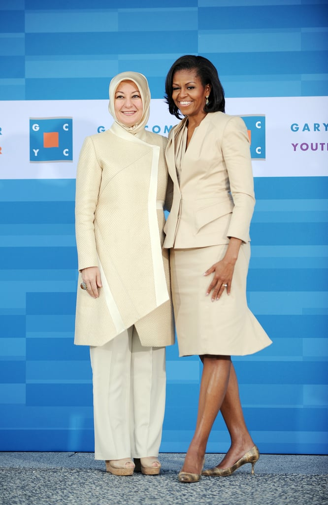 The FLOTUS went sleek and sophisticated in a cream-colored skirt and jacket that was made for her by Zac Posen.