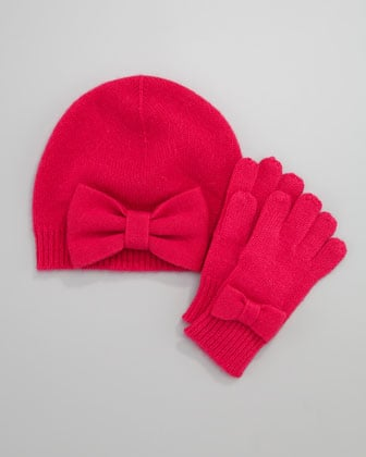 Neiman Marcus Cashmere Bow Hat and Gloves