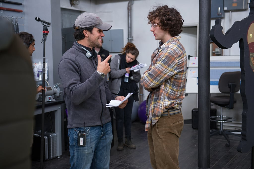 Director Jeff Wadlow and Aaron Taylor-Johnson on the set of Kick-Ass 2.