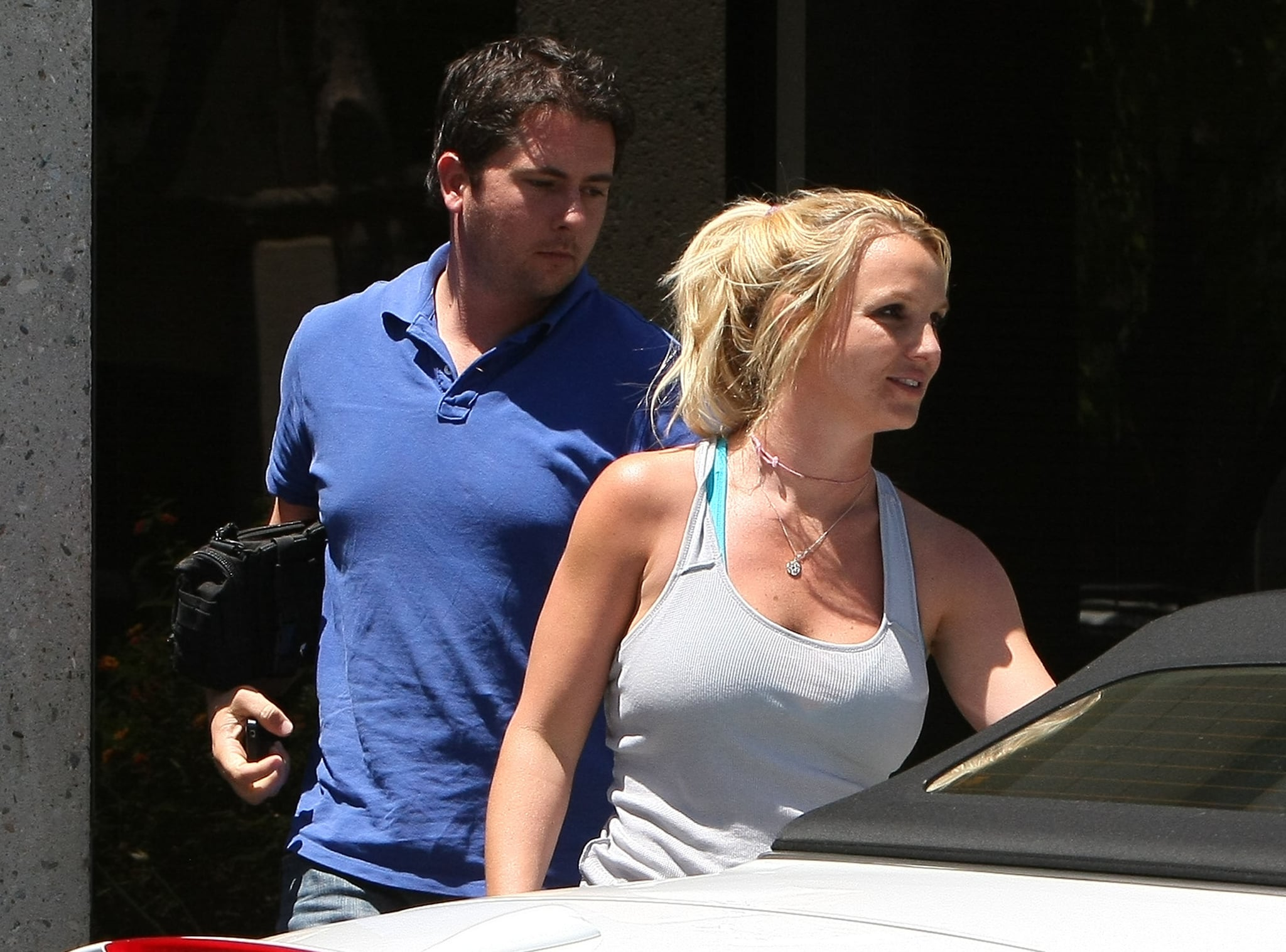 Britney Spears hit up a dance studio in a gray tank top.