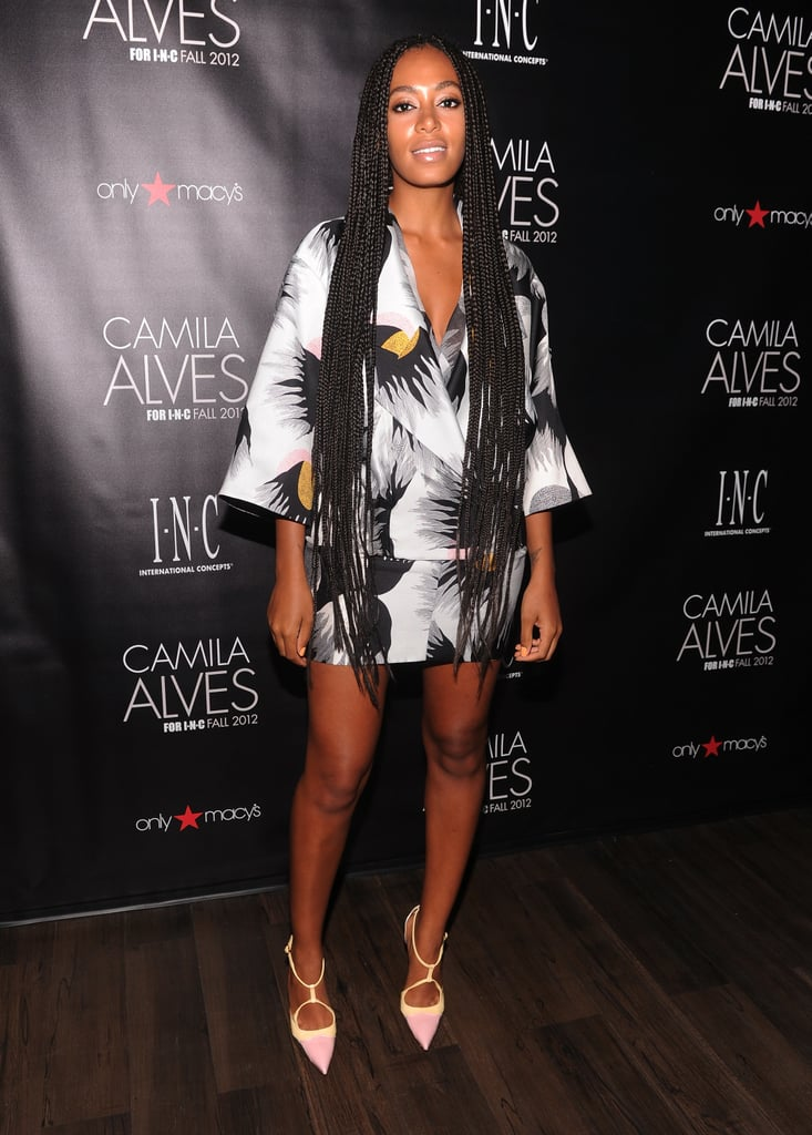 Knowles put her toned stems on display in a geisha-inspired ensemble and pastel pointed pumps at a Macy's event in NYC.