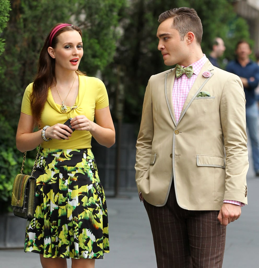 Leighton Meester (Blair Waldorf) and Ed Westwick (Chuck Bass) looked super stylish on the streets of New York as they filmed the final season of Gossip Girl.