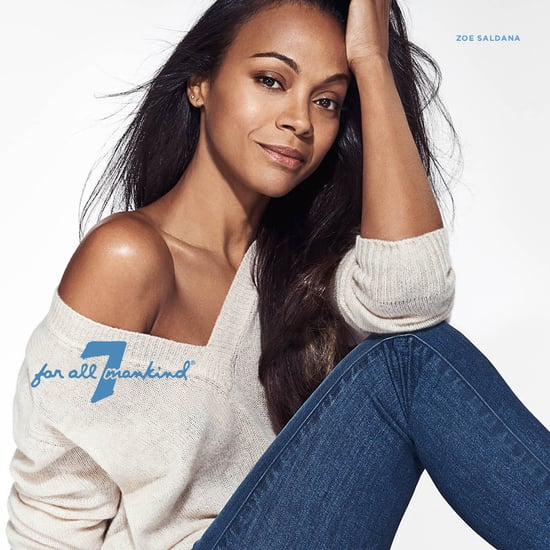 zoe saldana zoe saldana and 7 for all mankind have joined forces to ...