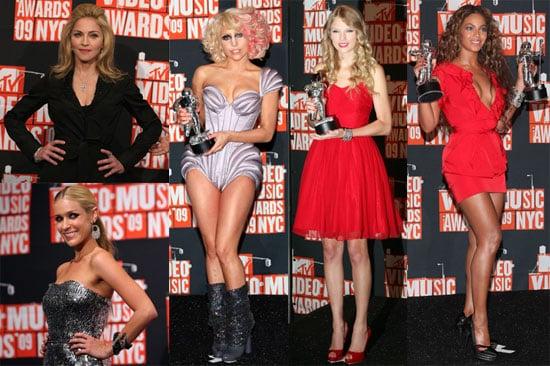 Photos of Madonna, Kristin Cavallari, Beyonce Knowles, Billie Joe Armstrong, Taylor Swift, Russell Brand, and Lady Gaga VMA Pres