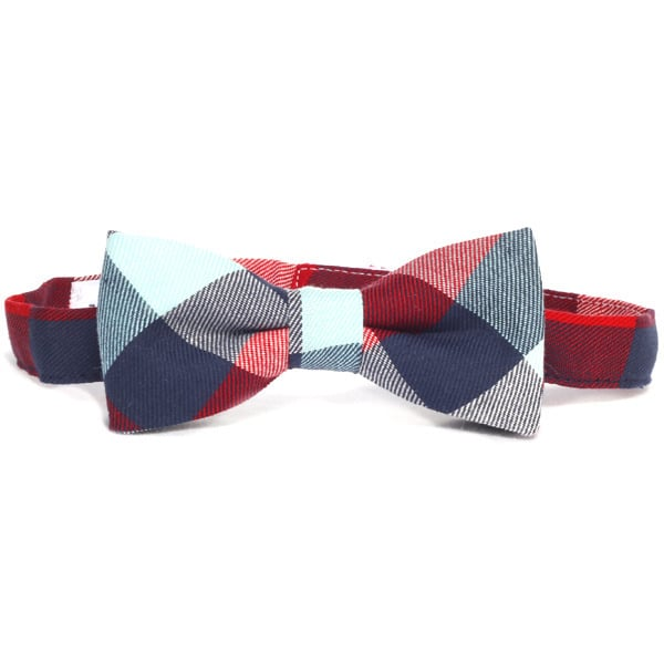 Black tie optional. He'll feel classy but will still be able to let his personality shine through with this colorful checker pattern bow tie ($23).