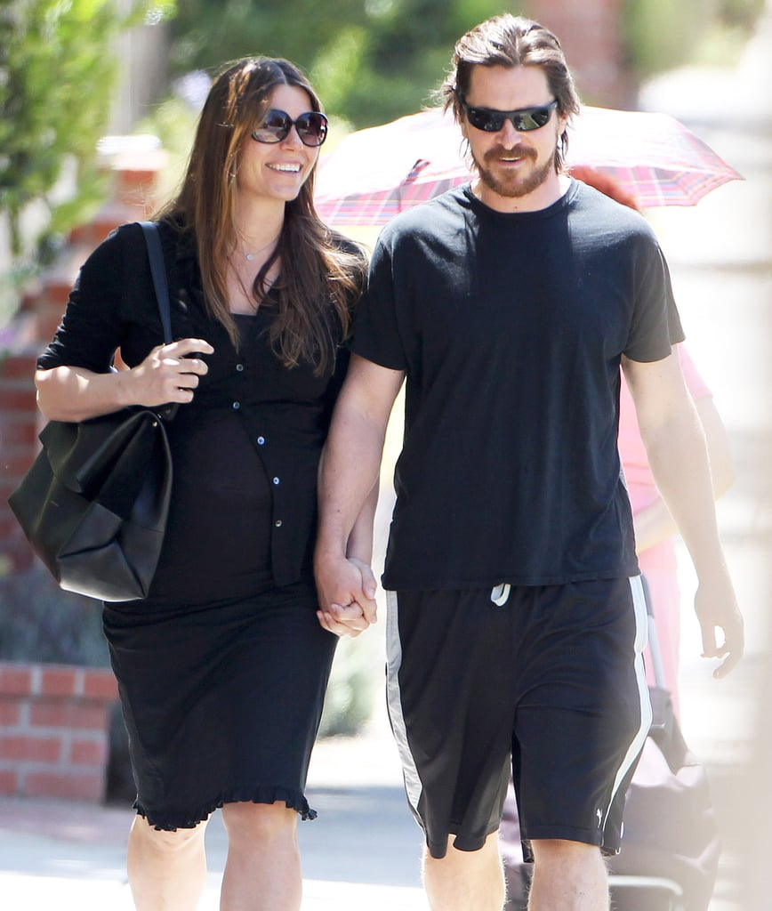 Christian Bale walked around with his pregnant wife, Sibi Blazic, in LA on Tuesday.