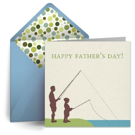 We love the sweet silhouettes on Punchbowl's Father's Day Fishing card.