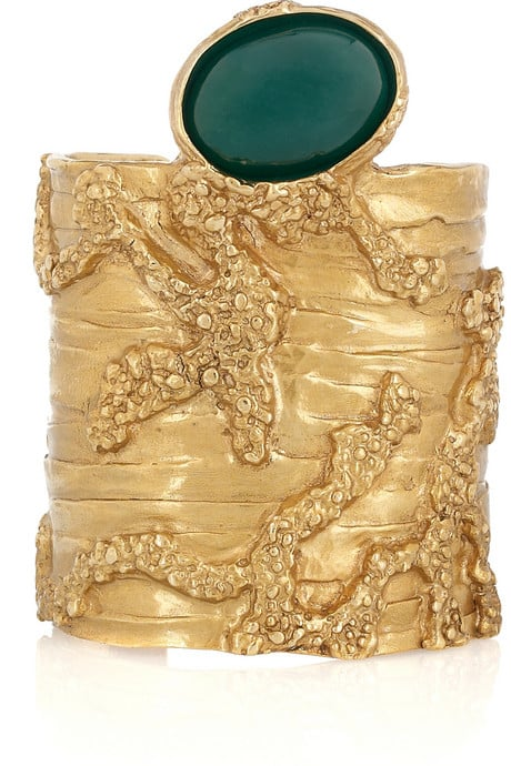 The emerald-hued stone adds an organic touch to this YSL creation.  Yves Saint Laurent Arty Gold-Plated Glass Cuff ($640)