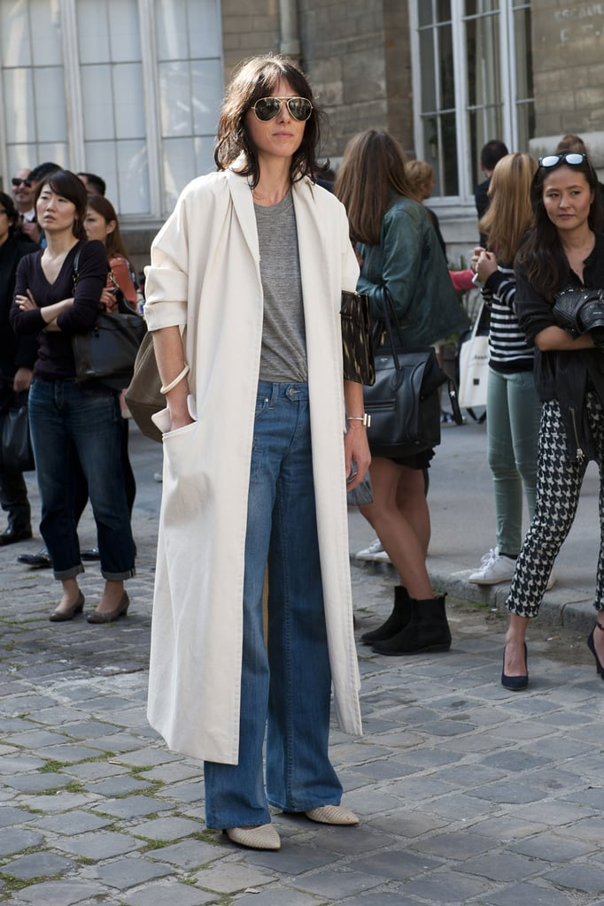 Easy does it in a white coat and jeans.