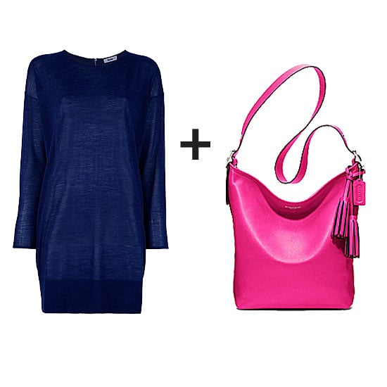 Keep it cool with a simple silhouette and subdued navy hue, then punch it up with a bold pop of fuchsia on your carry-all.  Get the look:  Acne Wham Sweater Dress  ($259) Coach Legacy Leather Duffle in Fuchsia ($348)