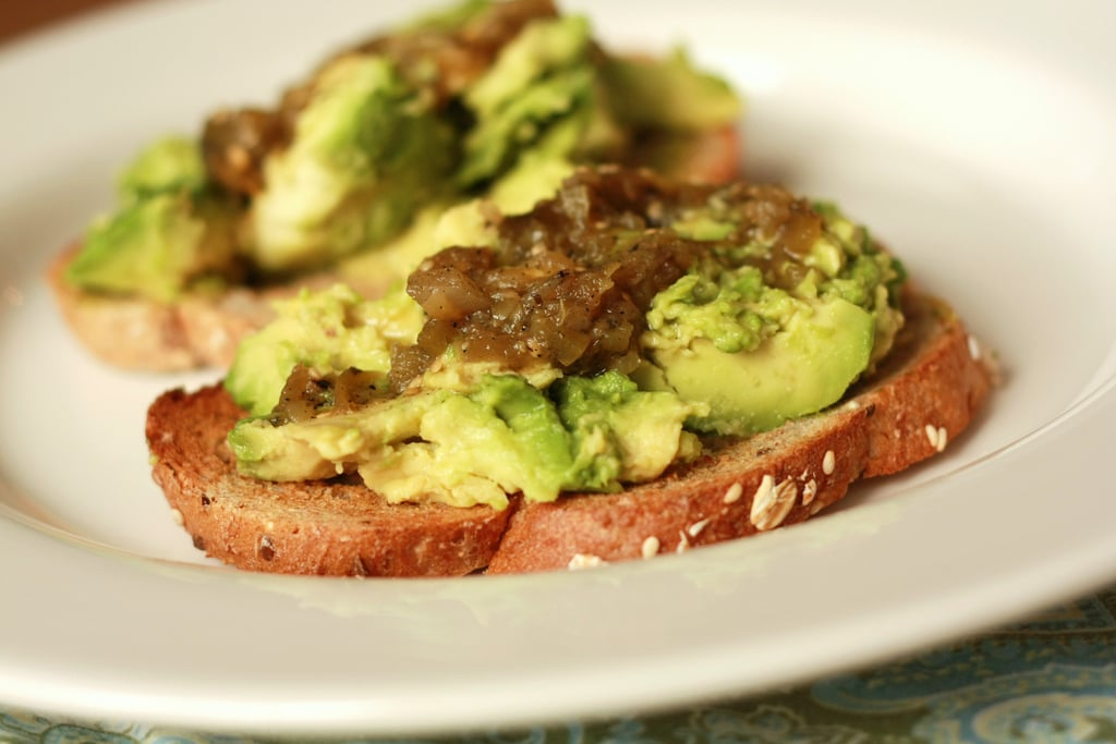 Garlic Toast With Mashed Avocado and Salsa Verde Spread