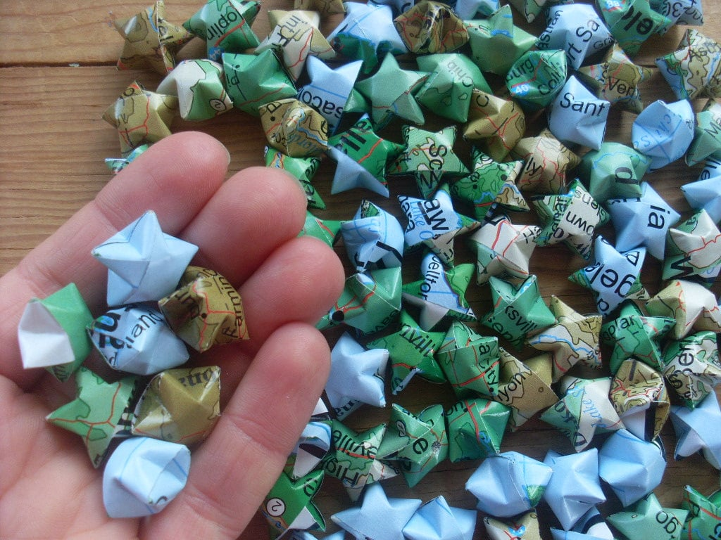 Map Origami Star | 221 Upcycling Ideas That Will Blow Your ...