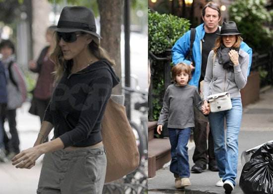 Pictures of Sarah Jessica Parker, James Wilkie, and Matthew Broderick in New York