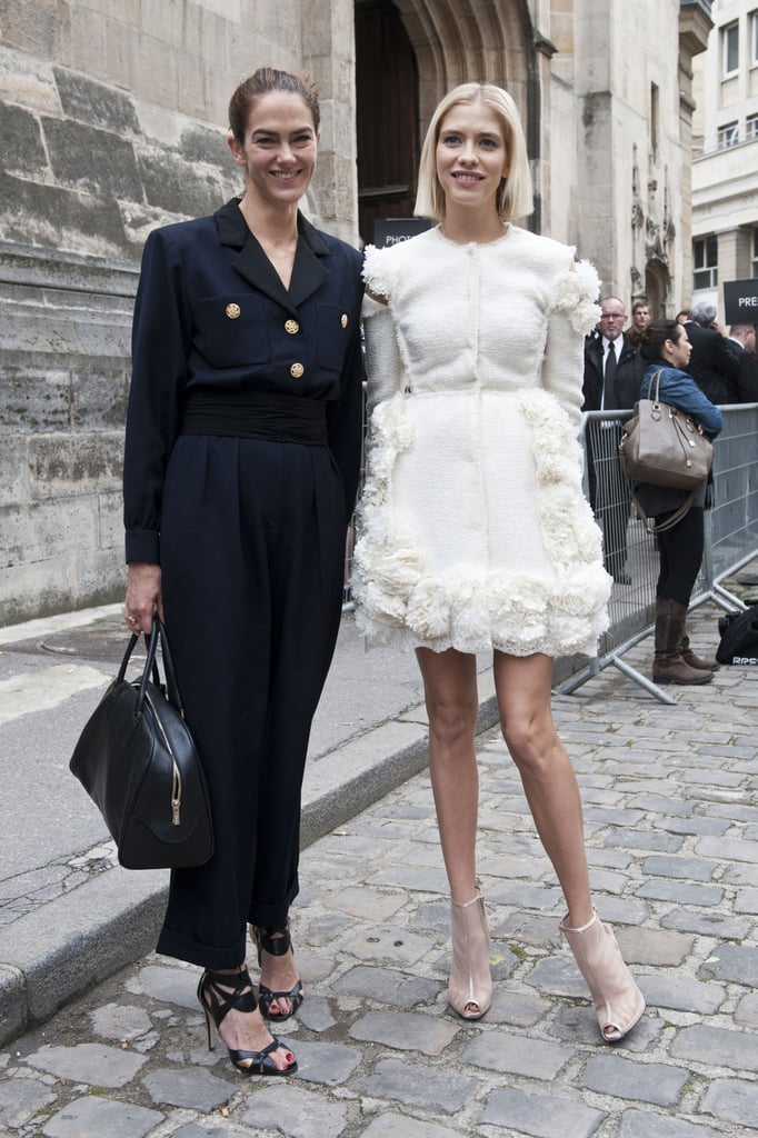J.J. Martin and Elena Perminova played opposites in a tailored suit and frothy dress, respectively.