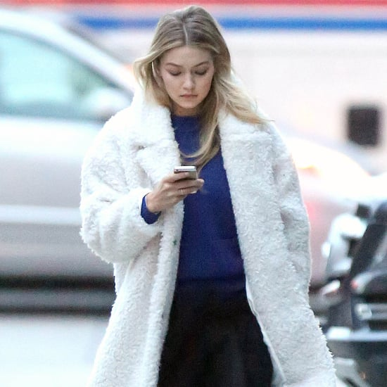 Gigi Hadid Wearing a White Coat Street Style