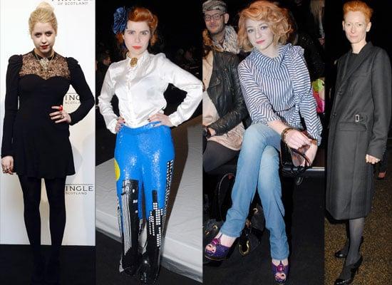 Photos of Celebs in the Front Row of London Fashion Week 2010 Including Janet Jackson, Tilda Swinton, Peaches Geldof, Paloma