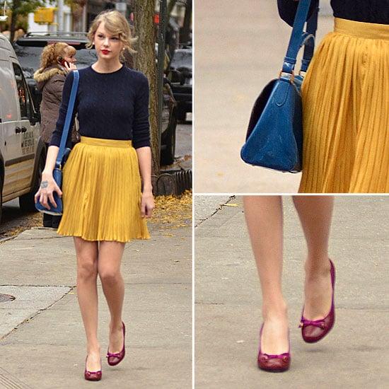 Taylor Swift Yellow Pleated Skirt Nov. 23, 2011