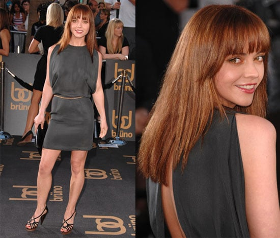 Actress Christina Ricci Wears a Gray Silk Dress to the LA Premiere of Bruno