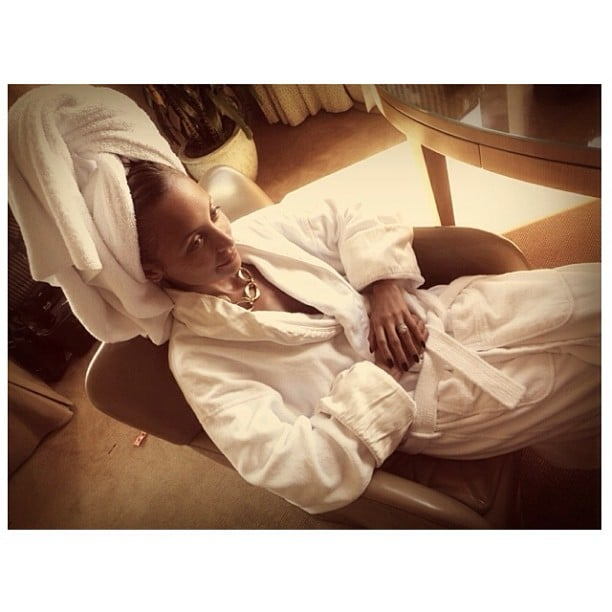 Nicole Richie relaxed in a bathrobe before heading to the Style Awards. Source: Instagram user nicolerichie