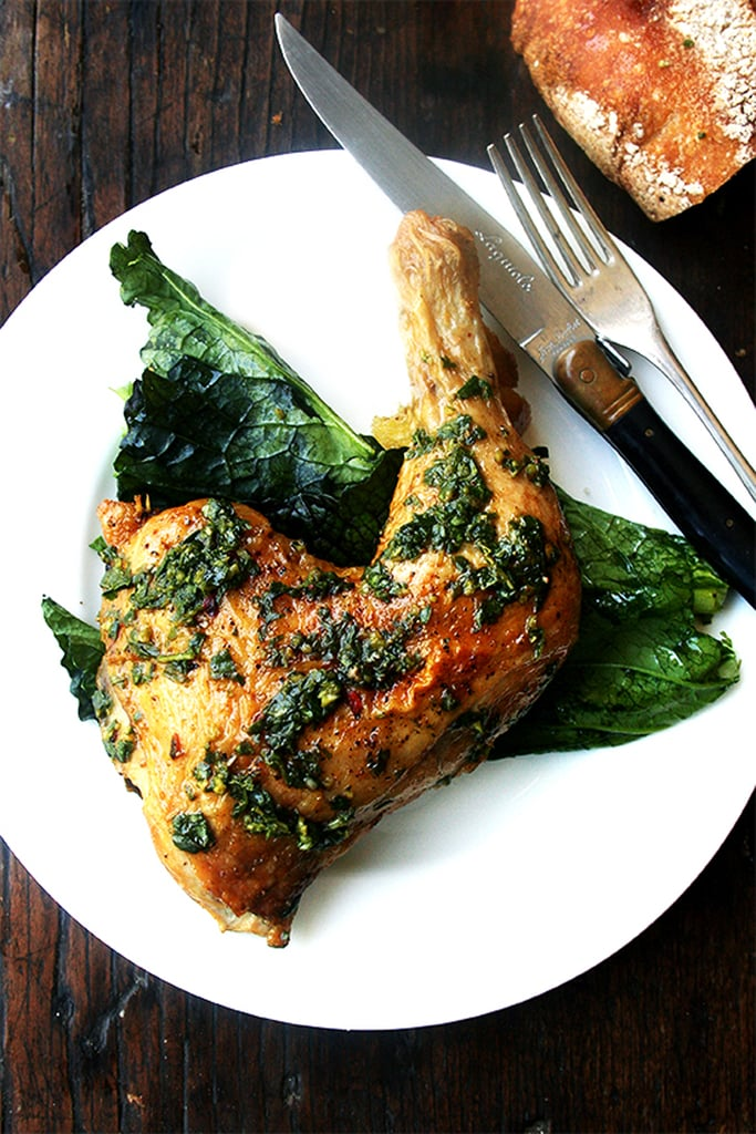 Roasted Chicken With Crisp Skin and Herb Sauce