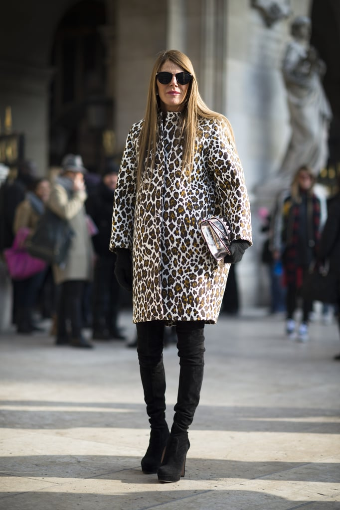 Anna Dello Russo arrived in leopard print, thigh-high boots, and a high-shine clutch in hand. Source: Le 21ème | Adam Katz Sinding