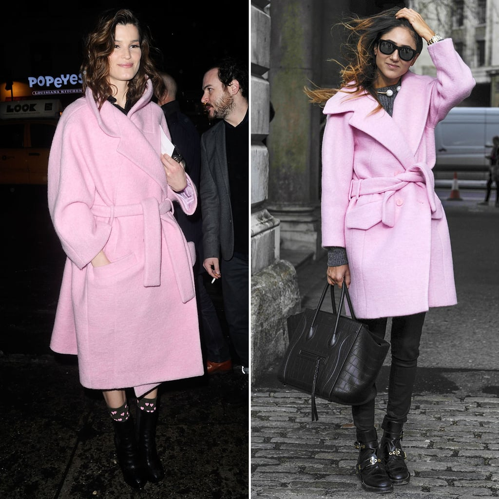 The common denominator for both Hanneli Mustaparta and this attendee's Winter style was a belted pastel pink overcoat.