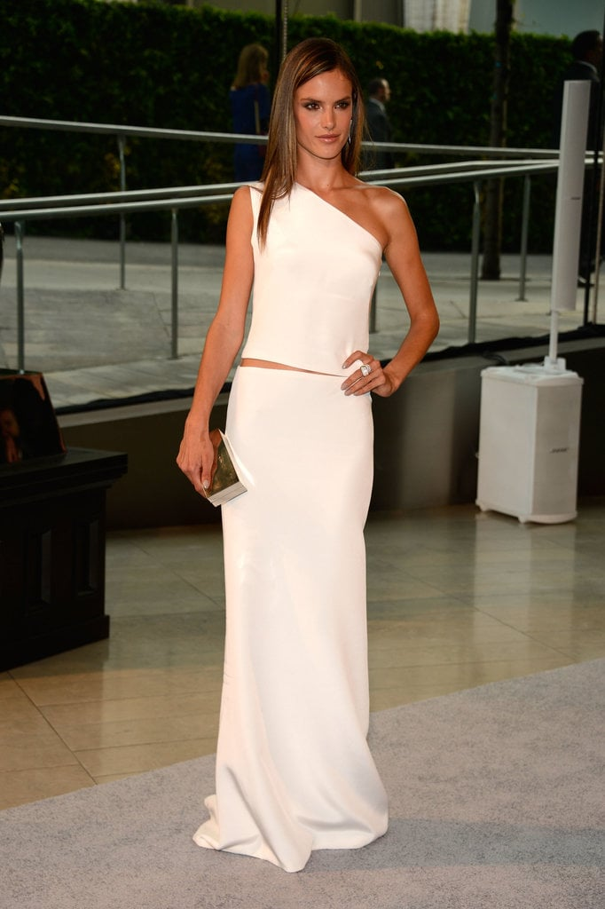 A look at the front of Alessandra's asymmetrical sheath.