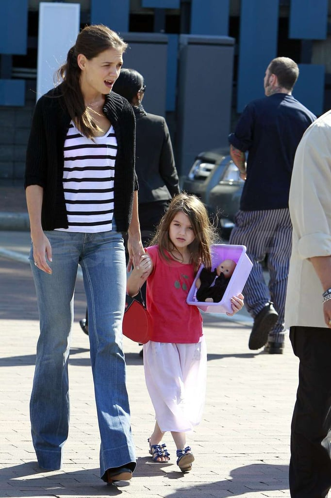 Katie Holmes wore jeans while Suri Cruise opted for a skirt.