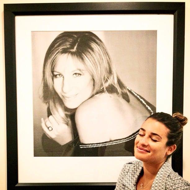 Lea posed near a framed photo of her idol, Barbra Streisand, in July 2013. Source: Instagram user msleamichele