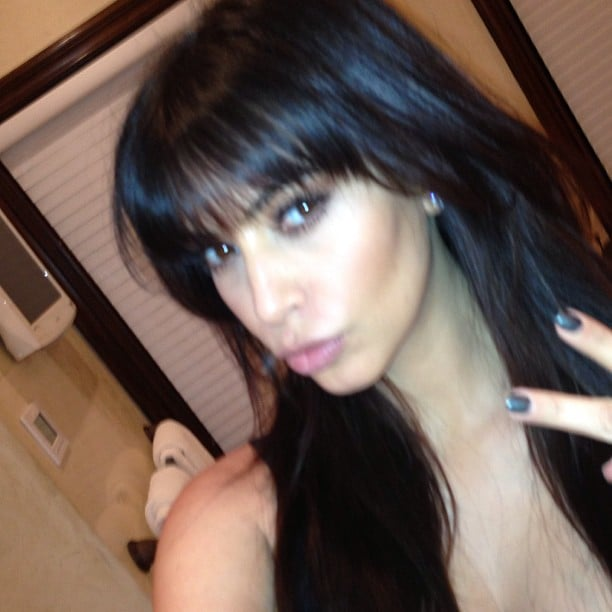 Kim Kardashian shared a photo of her new bangs. Source: Instagram user kimkardashian