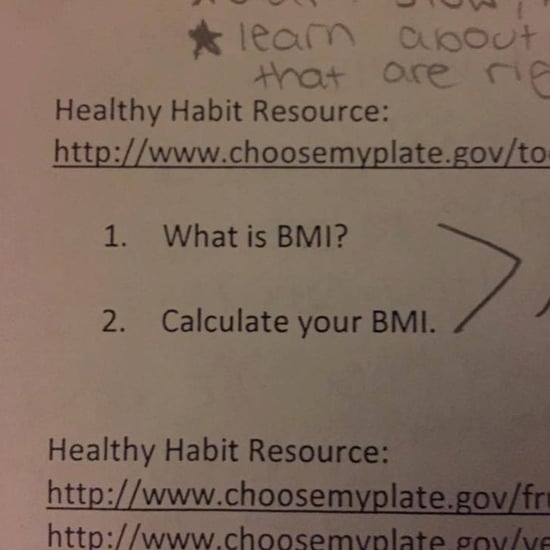 Girl's Response to School Assignment About BMI