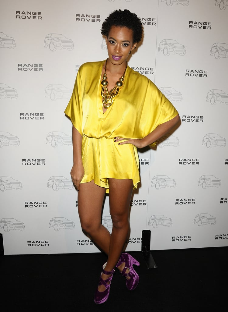 Solange married yellow and purple at a Range Rover event in November 2010.