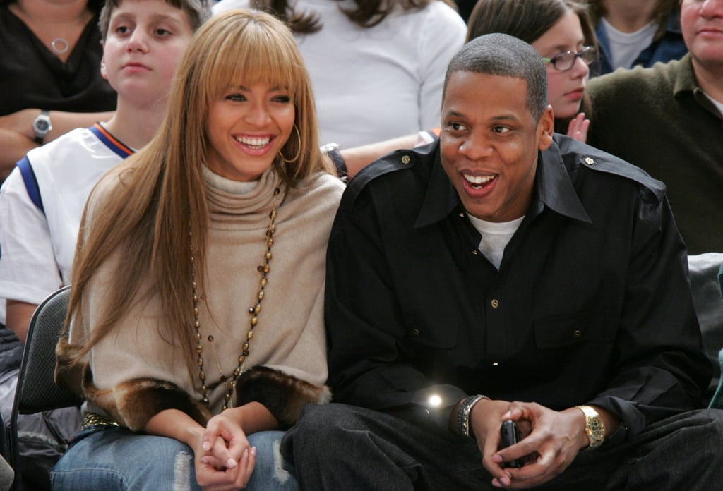 Beyoncé and Jay-Z watched the Houston Rockets play the New York Knicks at Madison Square Garden in January 2005.