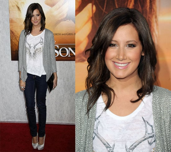 Ashley Tisdale in White Shirt and Gray Cardigan at The Last Song Los Angeles Premiere