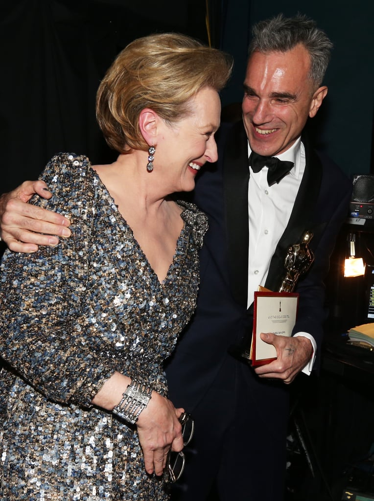 Meryl Streep and Daniel Day-Lewis backstage at the 2013 Oscars.