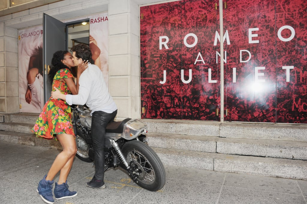 Well, they've got chemistry! Orlando Bloom planted one on his Romeo and Juliet co-star, Condola Rashad, as the pair appeared on Broadway for promotional work on August 7.