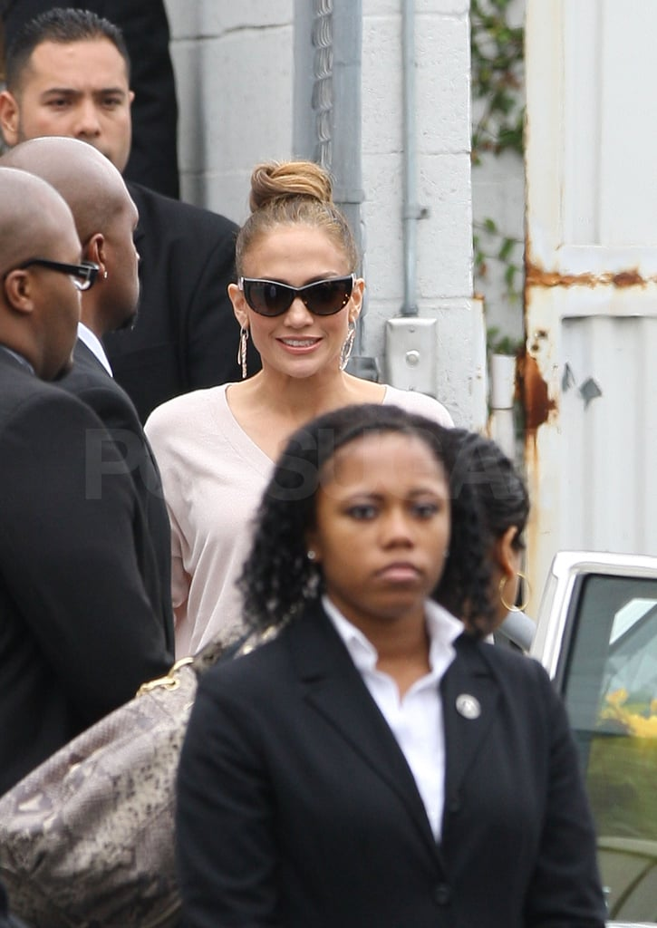Jennifer Lopez wore her hair up in a bun for the event.