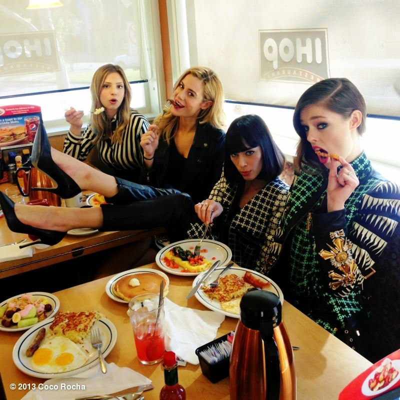 Coco Rocha ate at IHOP with her team of models from The Face. Source: Coco Rocha on WhoSay