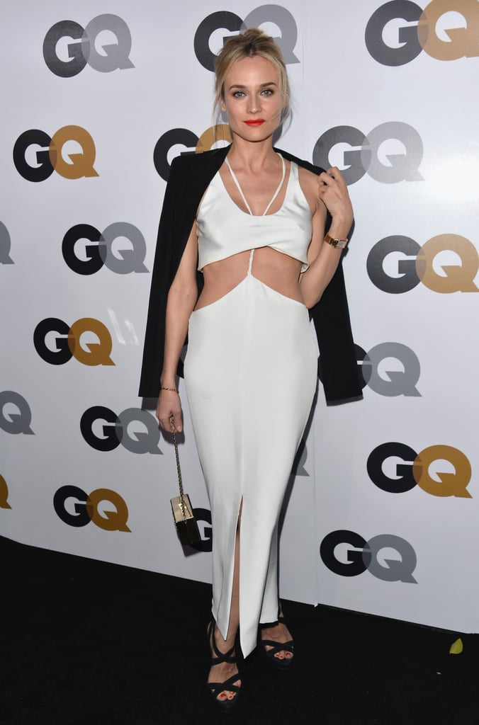 Diane Kruger showed off her style prowess in a white cutout Cushnie et Ochs dress, Vanessa Bruno blazer, and strappy Jimmy Choo sandals.