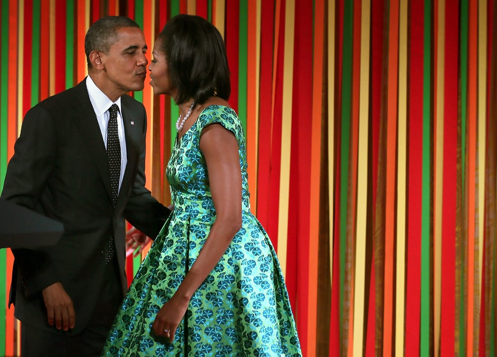 Barack went in for the kiss at the Kids' State Dinner in August.